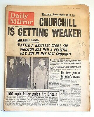 £8 • Buy Daily Mirror Newspaper - Winston Churchill Is Dying - January 18th 1965