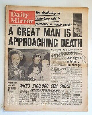 £8 • Buy Daily Mirror Newspaper - Winston Churchill Is Dying - January 20th 1965