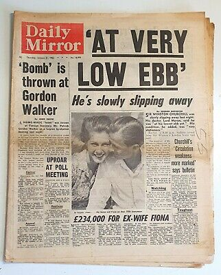 £8 • Buy Daily Mirror Newspaper - Winston Churchill Is Dying - January 21st 1965