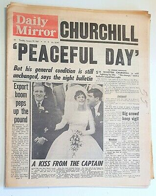 £8 • Buy Daily Mirror Newspaper - Winston Churchill Is Dying - January 19th 1965