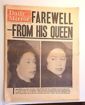 £10 • Buy Daily Mirror Newspaper - The Death Of Winston Churchill - January 29th 1965