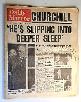 £10 • Buy Daily Mirror Newspaper - Winston Churchill Is Dying - January 16th 1965
