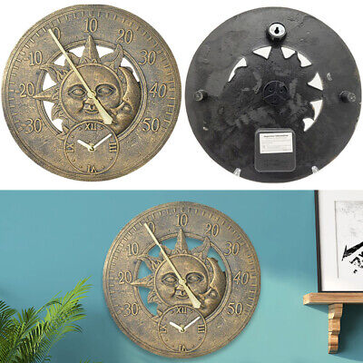 £19.95 • Buy Wall Mounted Sun And Moon Thermometer Metal Copper Effect W/Clock Outdoor Garden