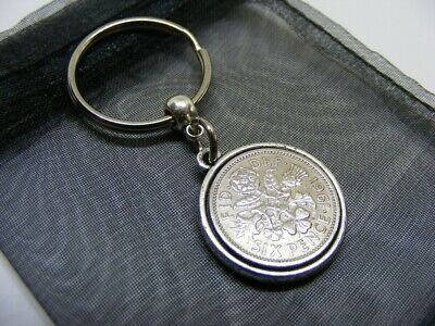 £5.95 • Buy 1961 Double Sided Lucky Sixpence Charm Keyring - 60th Birthday Gift - (NC01)