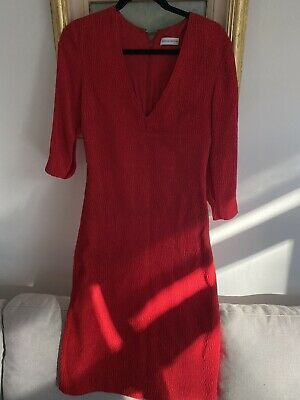 AU150 • Buy Scanlan Theodore Stretch Reptile Dress Red Size 8 Rrp$499