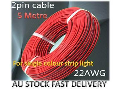 AU8.80 • Buy 5M 22AWG 0.3mm² 2 Pin Extension Cable Wire For Single Colour LED Strip Lights