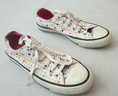 £14.79 • Buy Converse All Star White Love Hearts Low Trainers UK Size 5 US Size 7 EUR 37.5