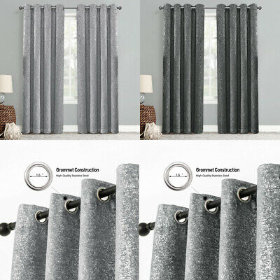 £27.99 • Buy Glitter Sparkle Eyelet Curtains Thermal Blackout Ready Made Ring Top + Tie Backs