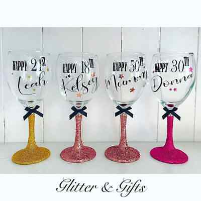 £8.99 • Buy Personalised Birthday Gift Glitter Wine Glass 16th 18th 21st 30th 40th 50th 60
