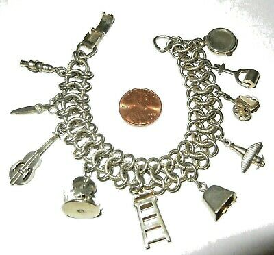 $ CDN24.35 • Buy Vintage Jewelry Charm Bracelet By KENT Very Unique Lots Of Charms