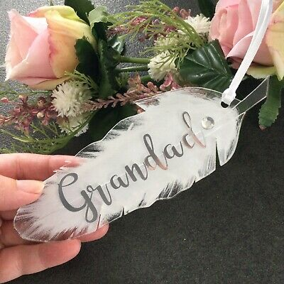 £7.99 • Buy Personalised Bereavement Gift-Comforting Gift-White Feather-Sympathy Gift-acryli