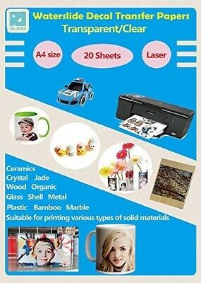 £17 • Buy A4 Size Laser Water Slide Decal Paper 20 Sheet Pack Transparent/Clear