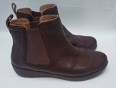 £34.99 • Buy Fit Flop Comfort Size 6 Brown Leather Stretch Ankle Platform Chelsea Chai Boots