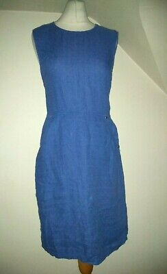 Ladies Brora Blue Side Pocket 100% Linen Fitted Dress Size 8 • 14.99£