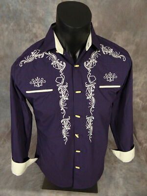 $19.95 • Buy Mens Western Rodeo Shirt Plum With Embroidered Cowboy Hats Bone Style Buttons