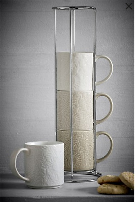 £16.99 • Buy NEXT Stackable Mug Set Fern Set Of 4 Stacking Mugs And Stand New