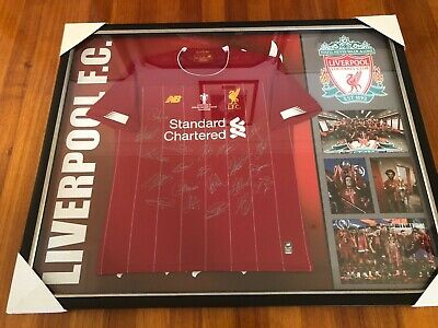 AU1250 • Buy Liverpool 2019 Framed Team Signed Jersey With COA