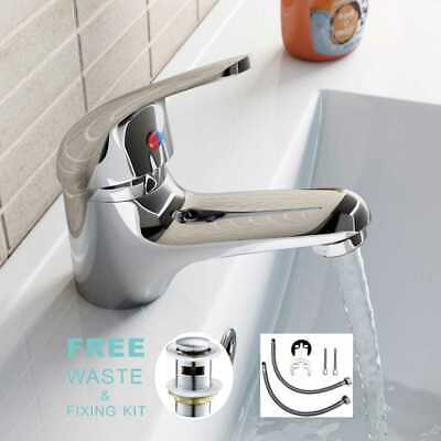 £12.95 • Buy  Modern Bathroom Taps Basin Sink Mono Mixer Chrome Cloakroom Tap With 2 Hoses
