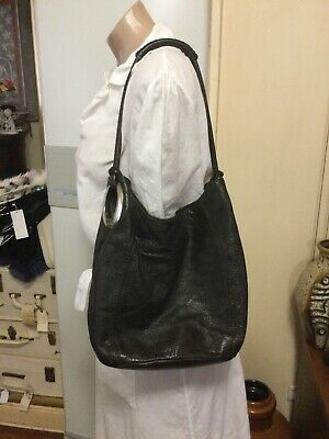 AU35 • Buy Black Pebbled Leather OROTON Bucket Bag Silver Hardware Shoulder/Hand Bag