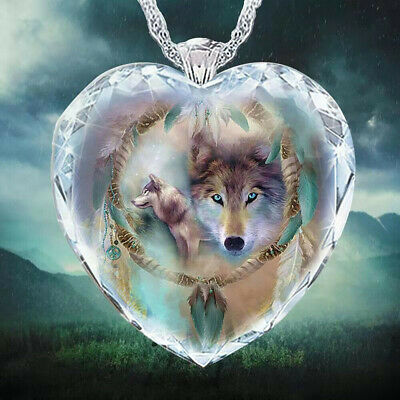 £2.74 • Buy 925 Silver Women Animal Wolf Heart Necklace Natural Crystal Jewelry Pendant Gift