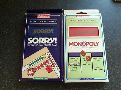 £16.99 • Buy Vtg 90s Waddingtons Magnetic Pocket Edition Family Board Game Sorry & Monopoly