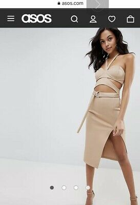 £3.99 • Buy ASOS SIZE XS - Tan Stretch Haltereck Body-con Cut- Out Midi Evening Dress *NEW*