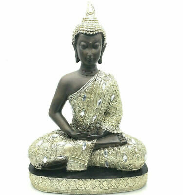 Thai Style Buddha Statue Sitting Large Silver / Gold Colour 45642 • 29.99£