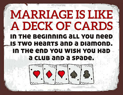£4.99 • Buy Vintage Retro Marriage Deck Cards Funny Quote Man Cave Beer Pub Shed Metal Sign