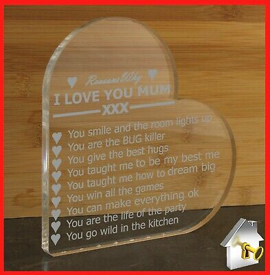 £6.99 • Buy Engraved Gifts Heart Plaque Love You Birthday Anniversary Gift For Mum Dad Nan