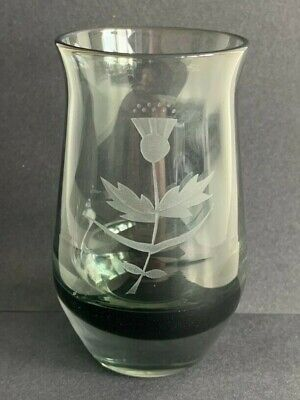 £7.80 • Buy Vintage Caithness Glass Vase Etched Thistle SIGNED KB Black Fading Hand Blown
