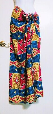 AU3.87 • Buy VTG 80s Print Koko Knot In Gear Fashion Swimsuit Cover Wrap Vibrant Fabric Skirt