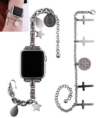 AU27.22 • Buy Stainless Steel Bracelet Chains Band Watch Strap For Apple IWatch 38 40 42 44mm