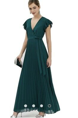 AU38 • Buy ASOS Size 10 Green Maxi Dress Pleated