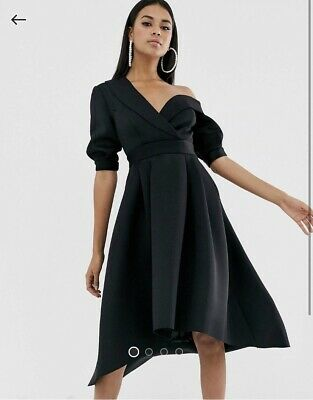 AU21.50 • Buy ASOS Fallen Shoulder Black Prom Dress, Size 12