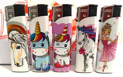 £3.10 • Buy 5 Pack Gsd * Unicorn * Electronic Refillable Lighters Multi Pack 5 For £3.10