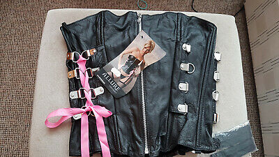 £25 • Buy leather Basque/ Corset By Allure Size 8/10, New With Tags And Suspenders