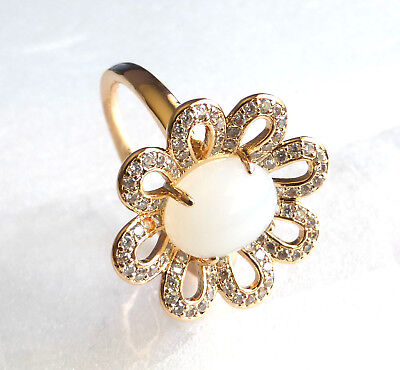 £15.27 • Buy Women Lady 18K Yellow Gold Plated Big Flower White Stone Ring Gift Size M N P Q
