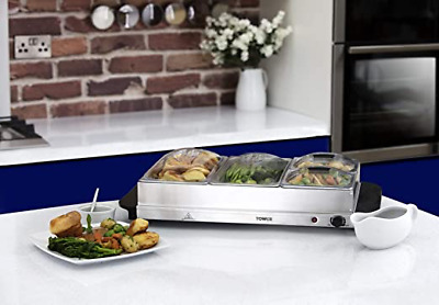 £39.99 • Buy Tower Four Buffet Server And Plate Warmer With 2 X 2.4 And 2 X 1.2 Litre Trays