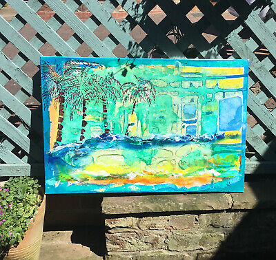Tropical Blue Painting Stretched Canvas Signed  Large Abstract Surf Sea And Sand • 40£