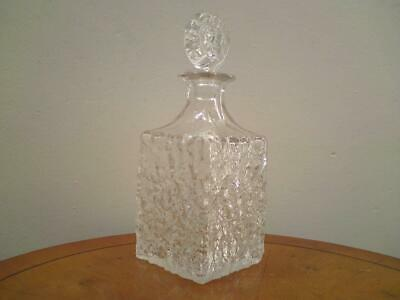 £65 • Buy Whitefriars Glass - Glacier Square Clear Bottle Decanter - Geoffrey Baxter