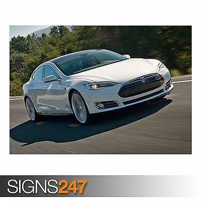 £1.49 • Buy TESLA MODEL S ON THE ROAD (AC626) CAR POSTER - Poster Print Art A0 A1 A2 A3