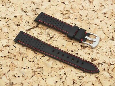Genuine Leather Quick Release Vented Rally Watch Strap 20mm Black By Geckota • 4.20£