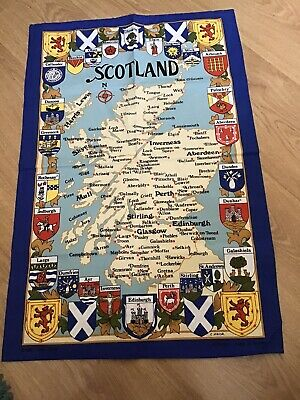 £6.99 • Buy Tea Towel Map Of Scotland With Flags And Crests Clive Mayor 1981 - All Cotton