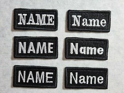 £2.99 • Buy 3x6 Cm Personalised Embroidery Name Tag TEXT Custom Patch Sew On  Hook And Loop