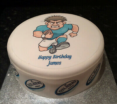 £9 • Buy Rugby Player Blue Pre-cut Edible Icing Cake Topper Or Ribbon