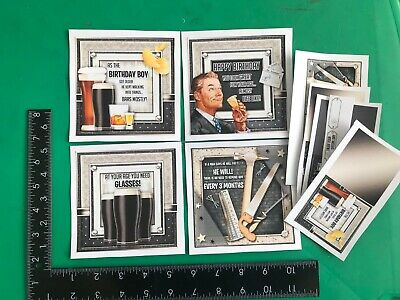 £2.99 • Buy Set Of 4 Handmade Male Birthday Card Toppers And Sentiments