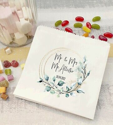 £6.25 • Buy Personalised Wedding Sweet Bags/ Candy Cart Favour Bags/ Eucalyptus Floral Frame