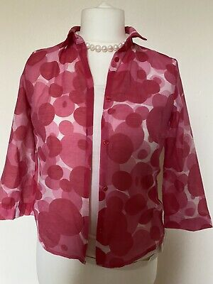 £12 • Buy MEXX Womens Red Funky Circles 70% Cotton( Voil) Shirt Top Jacket Size 12