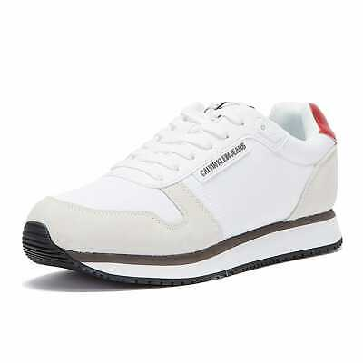 £50 • Buy Calvin Klein Jeans PU Nylon Runner Mens White Trainers Comfortable Casual Shoes