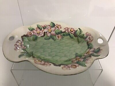 £7.50 • Buy Maling Lustre Green Pink Flowers  28.5cm Dish Bowl Floral Vintage Collectable